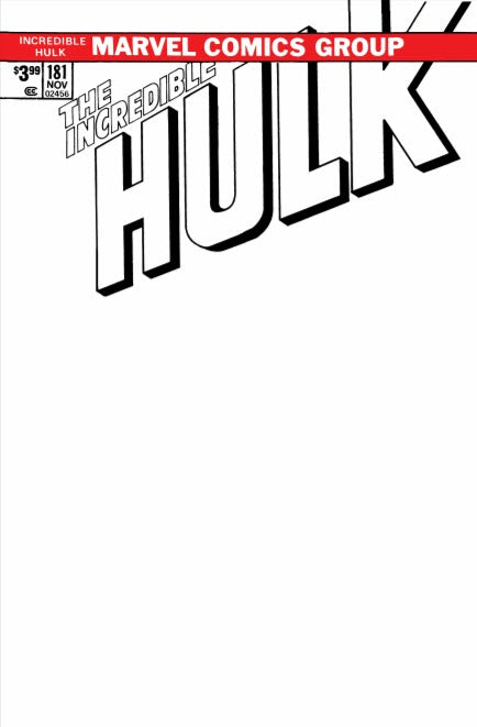 Green Blank Sketch Variant Incredible Hulk #181 Turkish Limited to 500