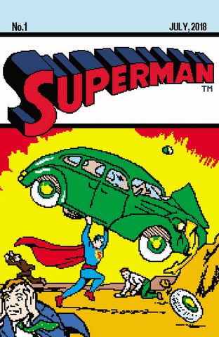 Superman #1 8 bit Action Comics #1 Homage Matthew Waite
