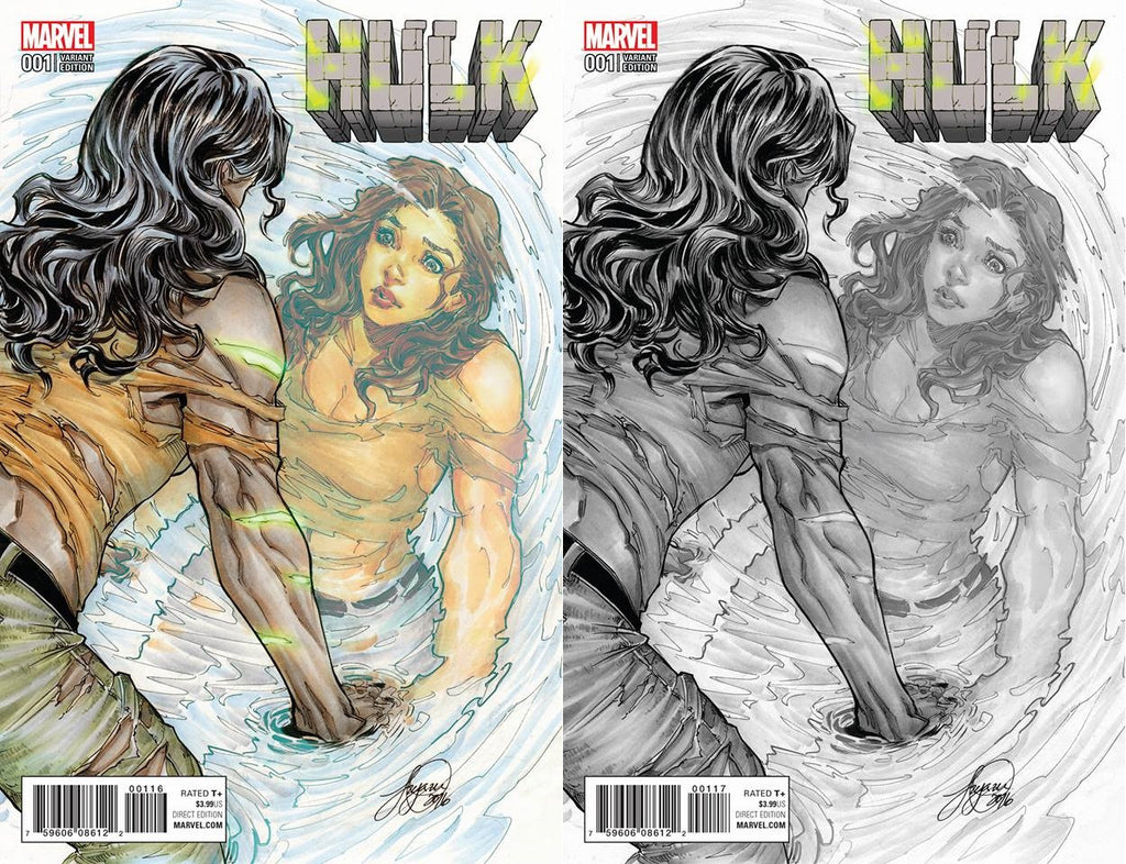 NOW HULK #1 SIYA OUM VARIANT COLOR AND B&W SET