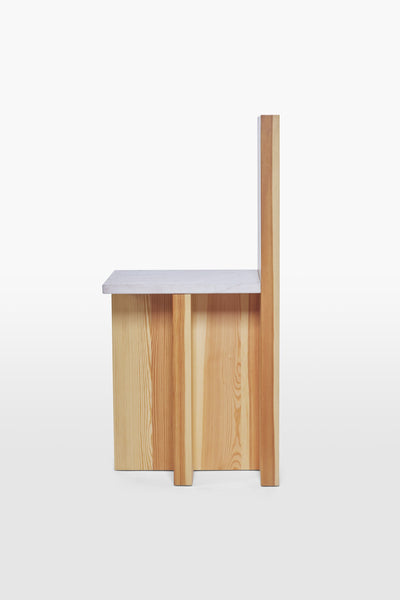 Pony <br> Chair <br> Pine Wood x Marble <br> Nature x Pink
