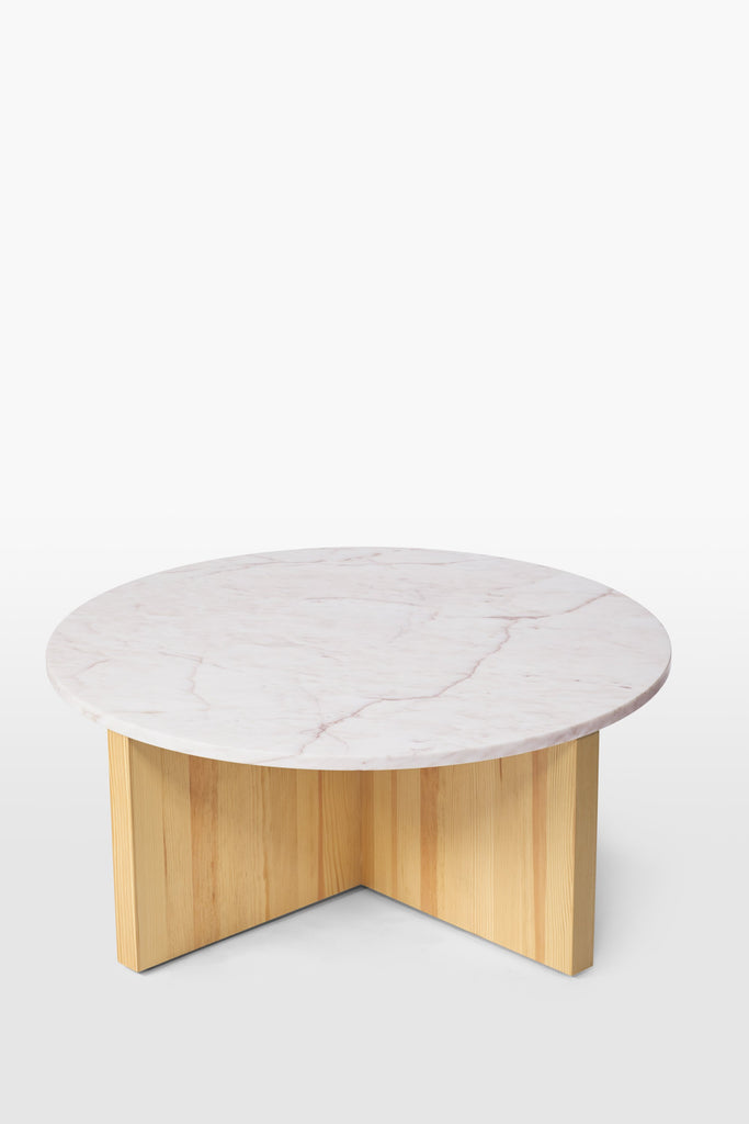 Wolf <br> Table <br> Pine Wood x Marble <br> Nature x Pink