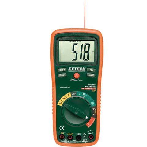 12 Function True RMS Professional MultiMeter + IR Thermometer- Extech EX470