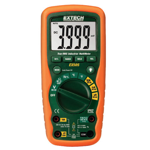 11 Function Heavy Duty True RMS Industrial MultiMeter Extech EX505