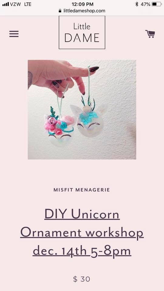 Ornament Workshop // DIY Unicorn // Dec. 14, 2018