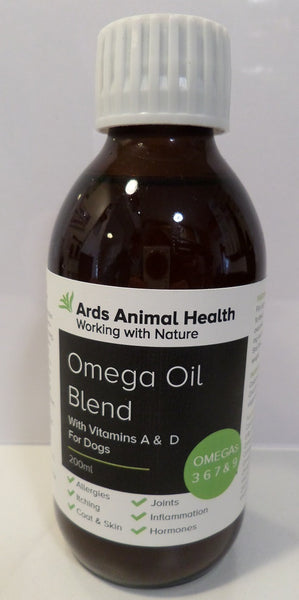Omega Oil Blend of Omega 3 6 9 for dogs itching allergies inflammation 200ml