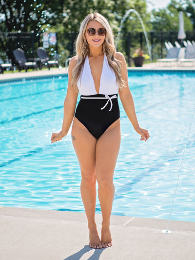 Yacht Club Color-Block One Piece - Black