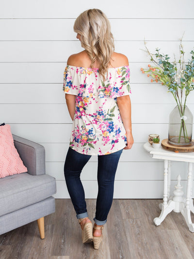 The Girl Next Door Off-The-Shoulder Floral Top - Ivory