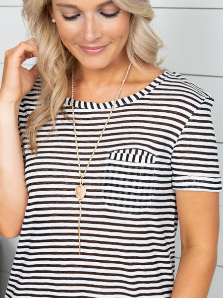 Love With No Regrets Stripe Top - Black