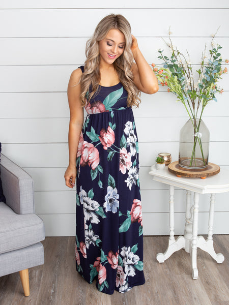 Love You More Than Anything Floral Maxi Dress - Navy