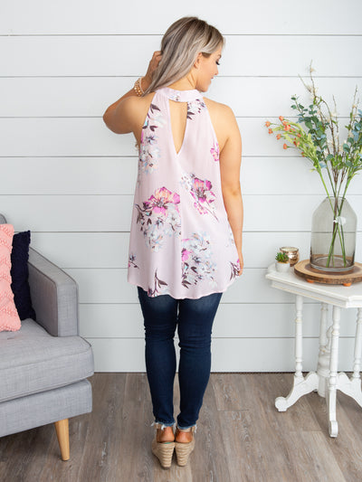 Go Getter Floral Halter Top - Pale Pink
