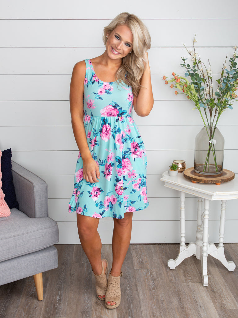 Count On My Love Floral Dress - Lt. Blue