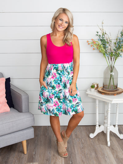 Everything Between Us Floral Color-Block Dress - Fuchsia