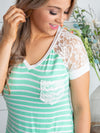 Better Days Ahead Stripe Pocket Knot Top - Mint