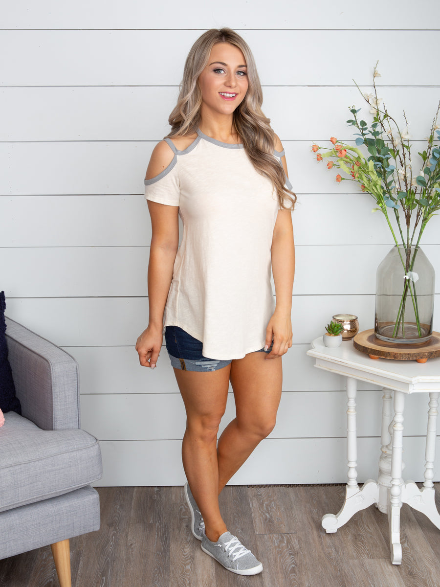 A Sure Thing Open-Shoulder Top - Off White