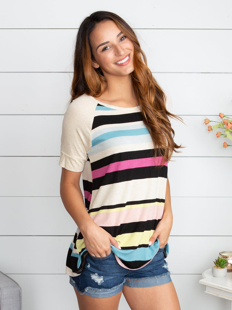 Found Somebody Stripe Top - Taupe