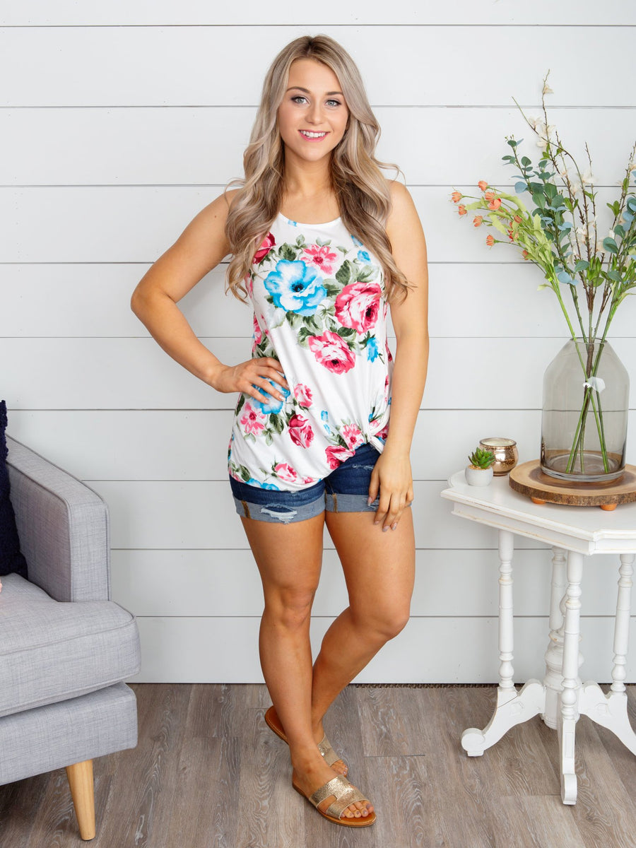 A Dream Come True Floral Knot Top - Off White