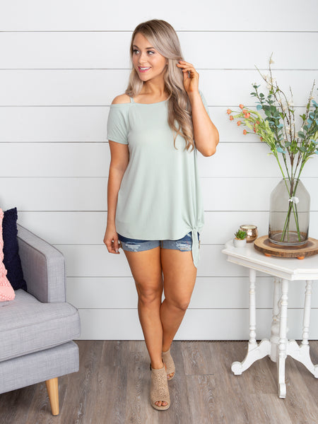 Getting Together One-Shoulder Knot Top - Lt. Sage