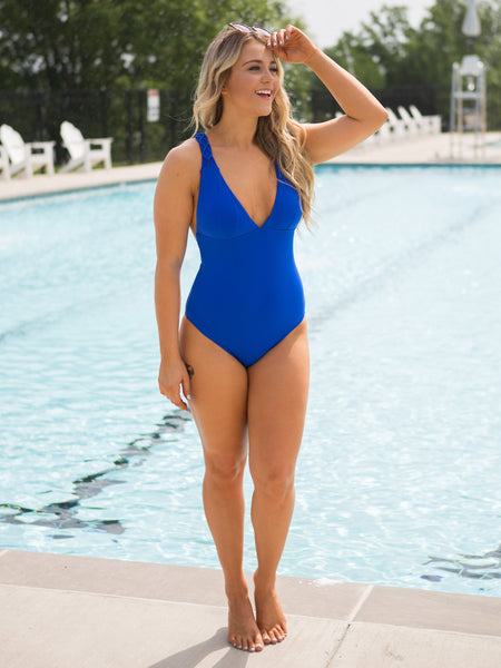 Clear Blue Skies One Piece - Royal Blue