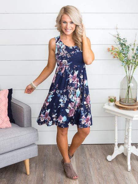 Favorite Memories Floral Dress - Navy