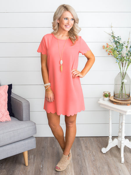 Always A Dreamer Scallop Dress - Coral