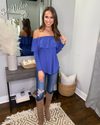 There For You Off Shoulder Top - Blue