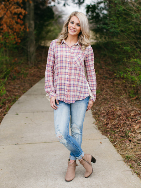 Pleasantly Plaid Button-Down - Blush