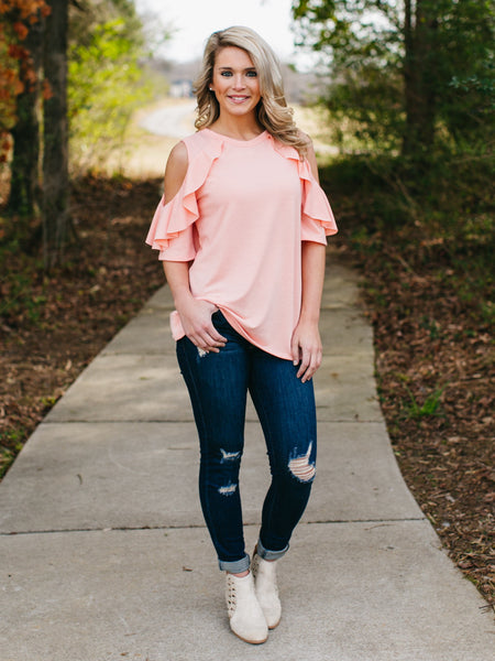 Kayla Open-Shoulder Top - Peach