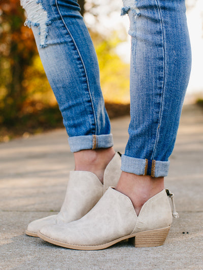 Carrie Cutout Booties - Stone