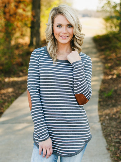 Sinclair Striped Elbow Patch Tunic - Grey