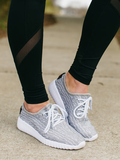 Low Key Knit Sneakers - Lt. Grey