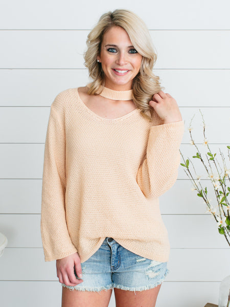 Keyhole Cable Knit Sweater - Pale Peach