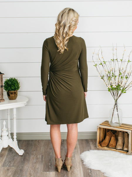 Stella Side Knot Dress - Olive