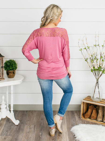 Forever Spring Lace Top - Deep Rose