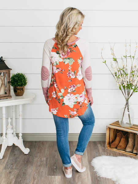 Spring Training Elbow Patch Top - Peach