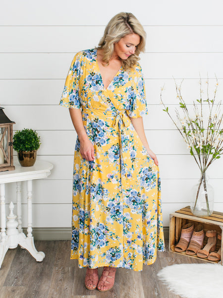 Primrose Wrap Maxi Dress - Sunshine Yellow