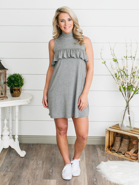 Paige Ruffle Tunic Dress - Grey