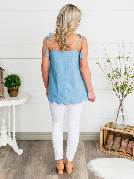 Lakeshore Scalloped Tank - Chambray