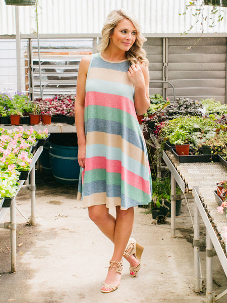Alisha Striped Dress - Multi
