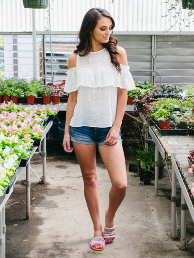 Breezy Open-Shoulder Top - White