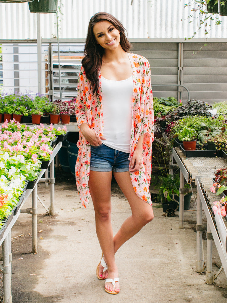 Stop And Smell The Roses Kimono - Pink Multi