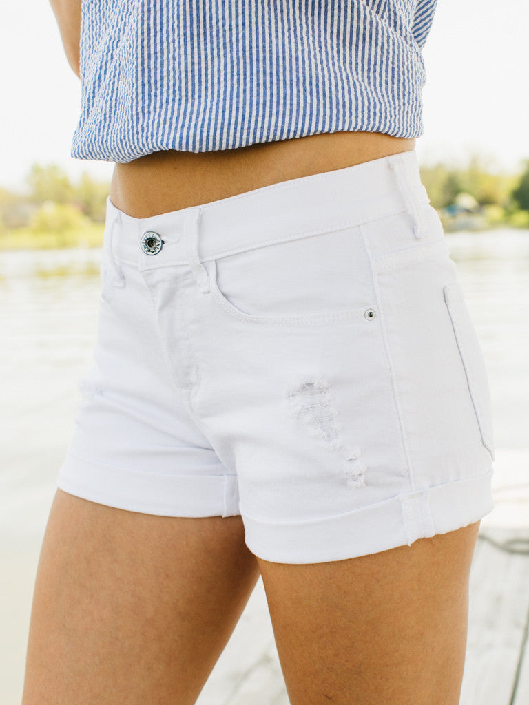 Beach Babe Distressed Shorts - White