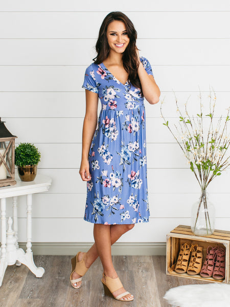 Felicity Floral Wrap Dress - Blue