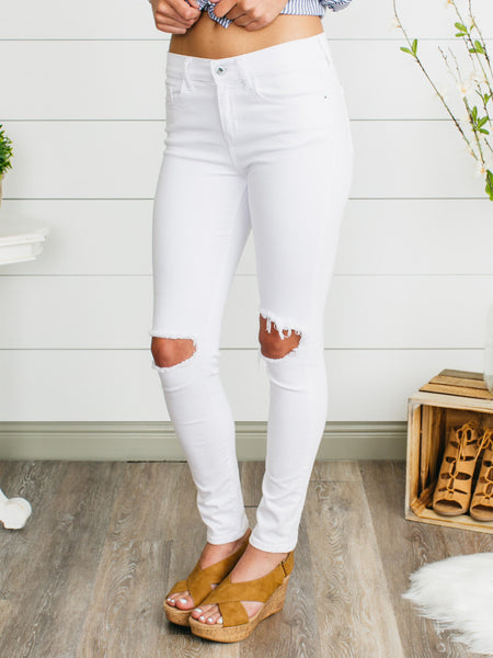 Veda Distressed Skinny Jeans - White