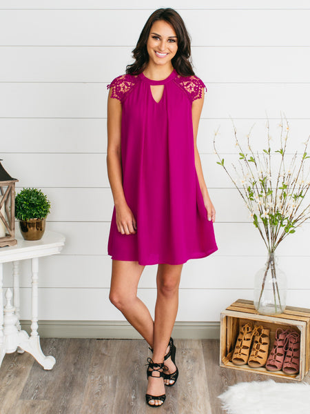 Lace is More Dress - Fuchsia