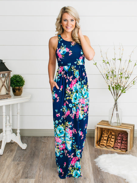 Wild Imagination Floral Maxi - Navy