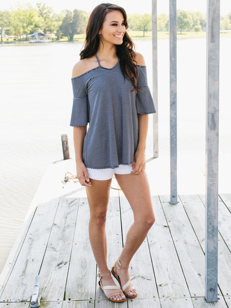 Lakeshore Striped Top - Navy