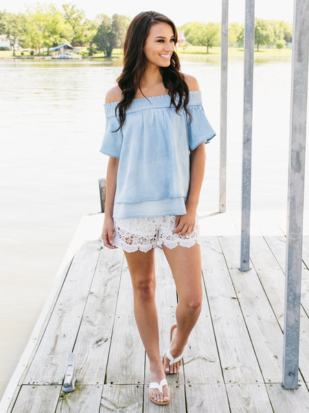 Summer Vibes Off-Shoulder Top - Lt. Chambray