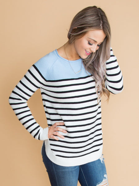 What You Wanted Stripe Color-Block Top - Powder Blue