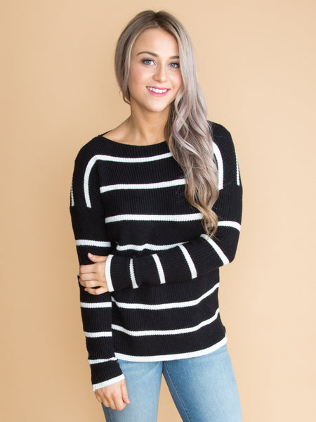 It Meant That Much Stripe Sweater - Black