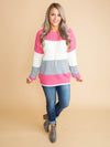 No Need To Worry Color-Block Sweater - Hot pink
